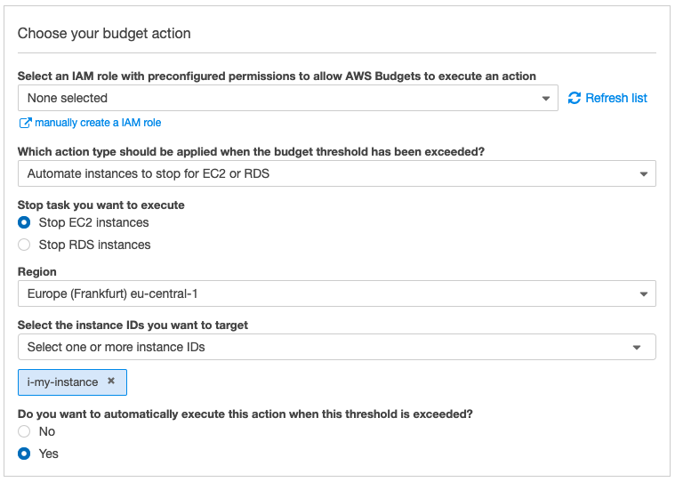 Budget Action to Shut Down an EC2 Instance